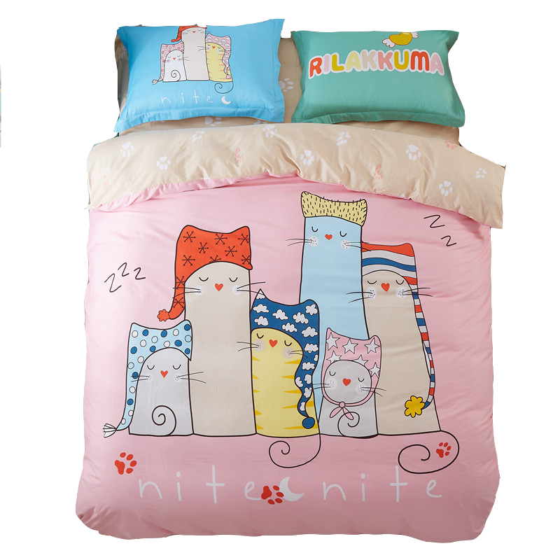 Twin full queen bedding set,100 cotton comforter set,sleeping cats printed comforter,pink comforter bedding/bed sheet/pillowcase(China (Mainland))