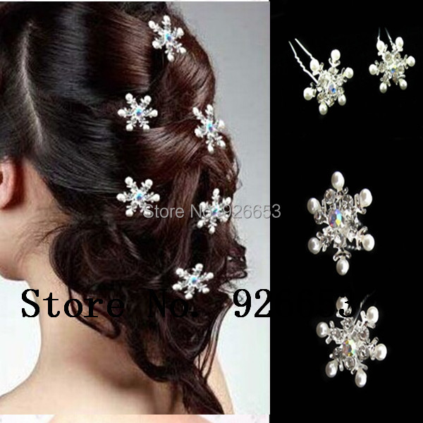 6pcs/lot New Wedding Party Bride Woman Hairpin Clips Snowflake Crystal Pearl Pins Fashion Hair Jewelry Accessories Free Shipping(China (Mainland))