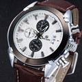 MEGIR Men Chronograph Quartz Watch White Dial Brown Leather Slim Watches Multi function Fashion Casual Waterproof