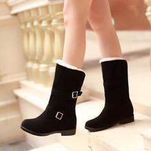 Enmayer negro sólido antideslizante botas de nieve caliente punta redonda felpa zapatos de invierno cuña tamaño 34-40 de la PU rodilla botas de algodón envío gratis(China (Mainland))