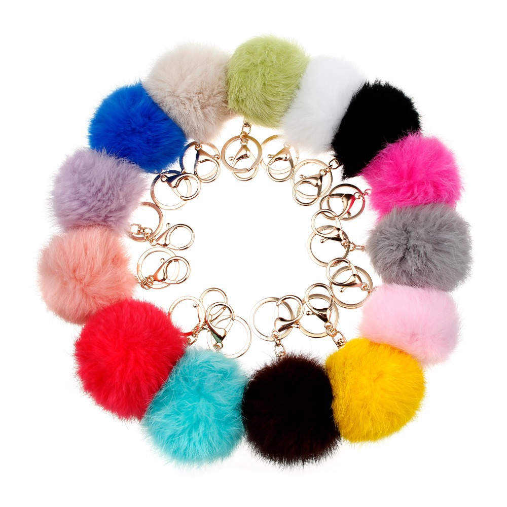 14Colors 8CM Genuine Rabbit Fur Ball Keychain 2015 Valentine's Day Gift 18K Gold Plated Keyrings Keychain For Keys For Lovers(China (Mainland))