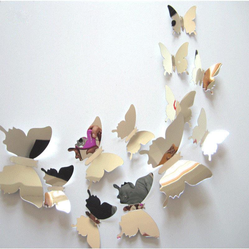 Butterfly mirror sticker promotie winkel voor promoties butterfly mirror sticker op - Driedimensionale spiegel ...