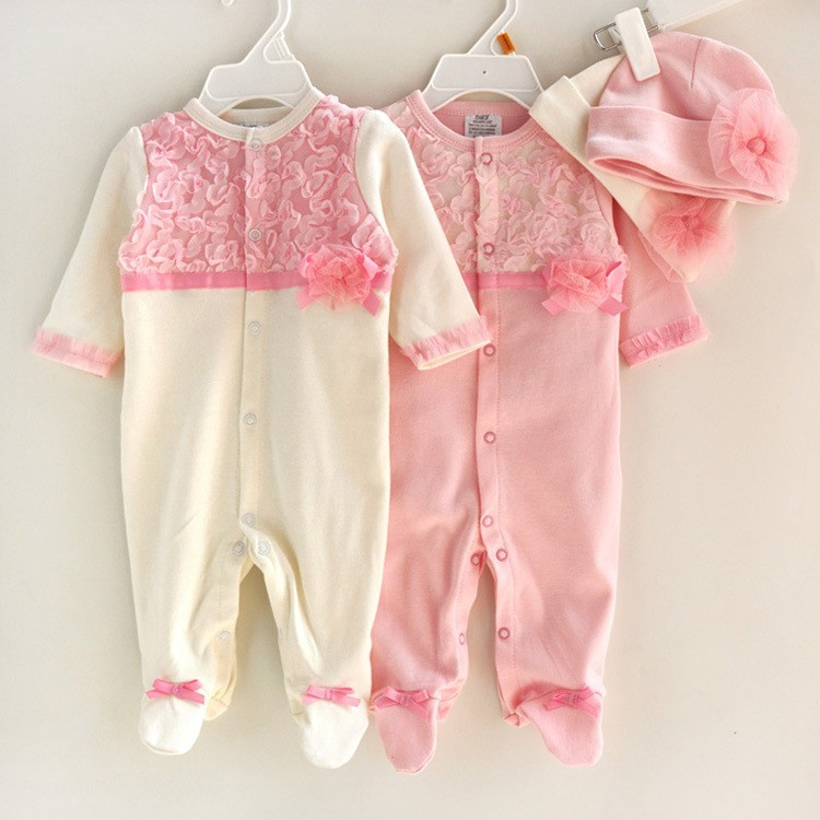 Princess Style Newborn Baby Girl Clothes Girls Lace Rompers+Hats Baby Clothing Sets Infant Jumpsuit Gifts