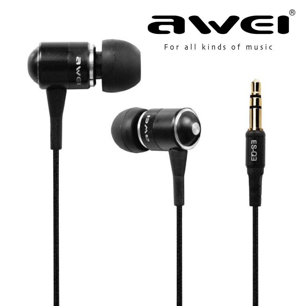 New AWEI ES Q3 Noise Isolation In ear Style 3 5mm Jack Earphone For iPhone Samsung