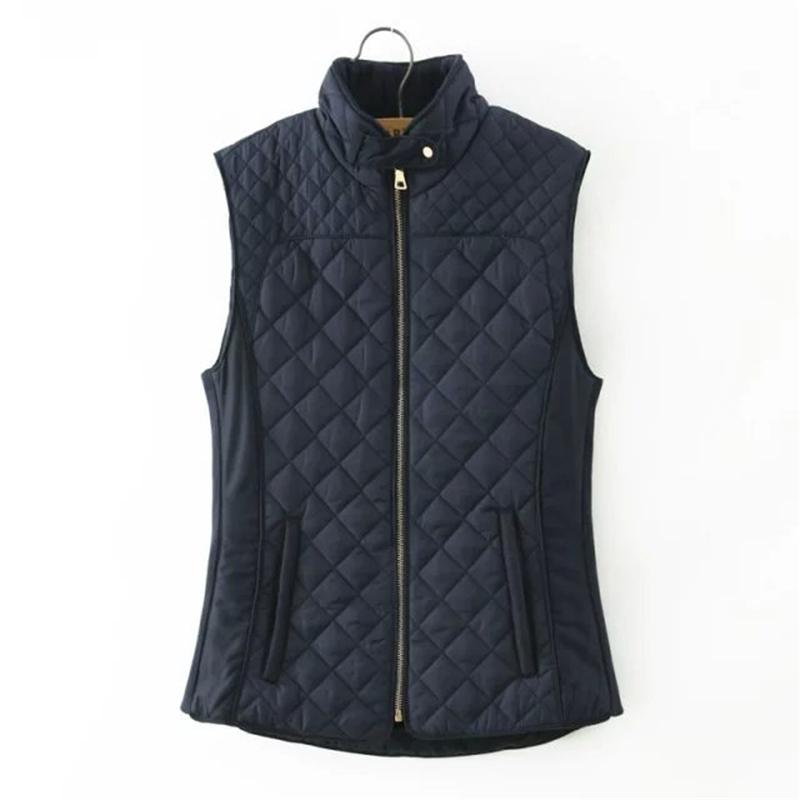 new fashion 2015 autumn winter stand collar jacket Cotton Vest women Waistcoat Coat outwear casual plus size tops 2 color