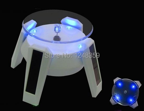 HOT Solar Display 360 Degree Rotation 4xBlue LEDs Solar Powered Stand Base Rotary Display Turnable Plate 2pcs/lot Free Shipping(China (Mainland))