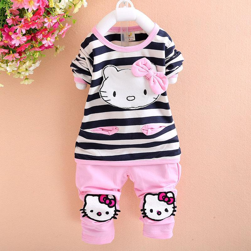 Hello Kitty Baby Girl Clothing Sets Spring Knitted T-shirt Pants Toddler Girl Clothing Cotton Kids Clothes Sets Children's Suit(China (Mainland))