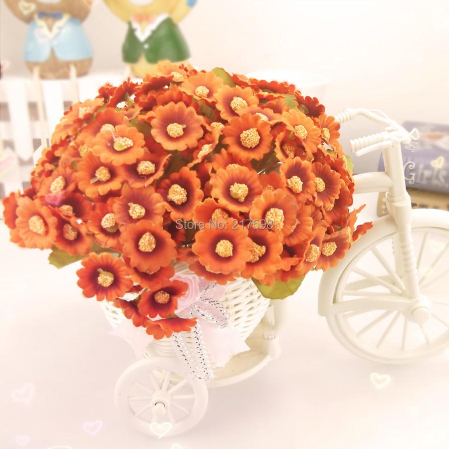 Decorative flower set silk daisy + rattan vase home decoration beige orange burgundy(China (Mainland))