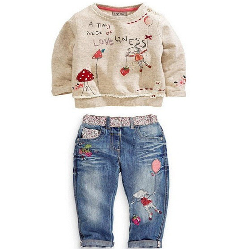 Age 2-6 Spring And Autumn 2016 New Style Long-Sleeve T-shirt+Pants Baby Girls Clothing Set Kids Girl Sets Clothes Children Wear(China (Mainland))