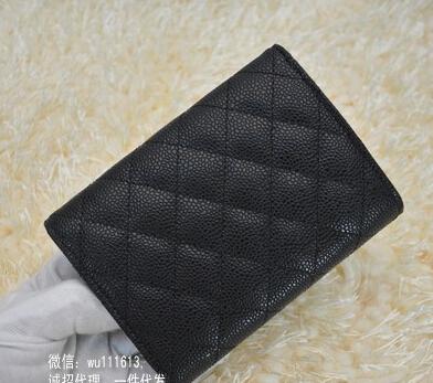 2015 new fashion joker cow leather three fold wallet Lingge caviar short paragraph women wallet(China (Mainland))