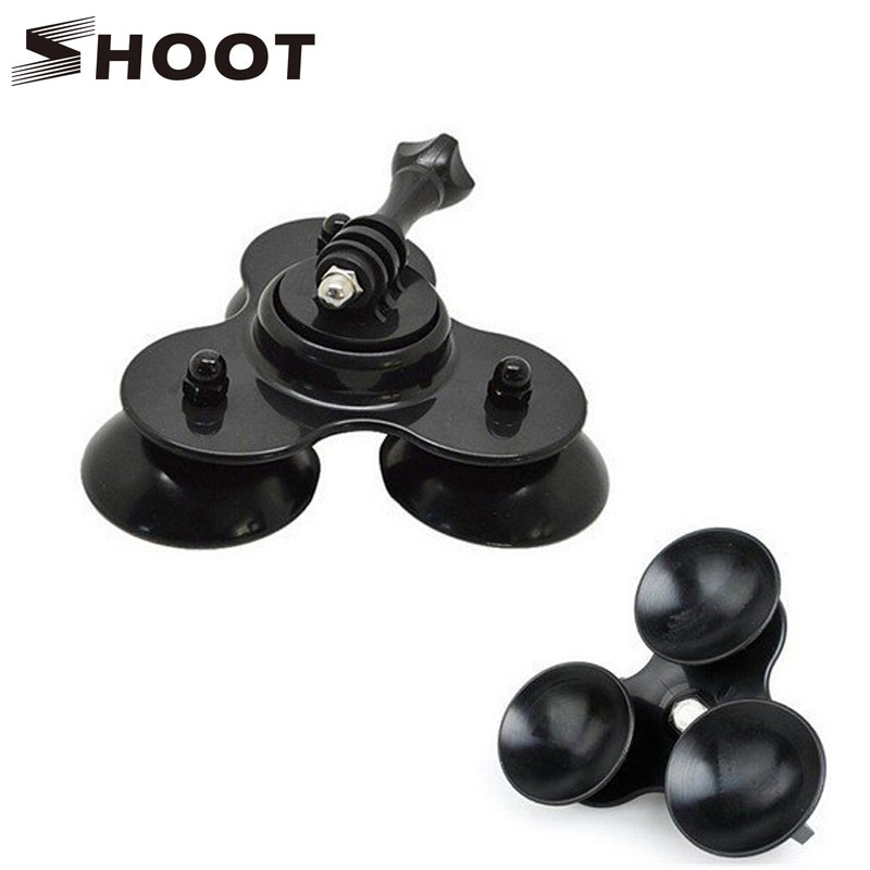 Black Super Suction Cup Mount Low Angle Secure Car Vehicle 3 Vacuum Bases for GoPro HD HERO2/3/3+/4(China (Mainland))