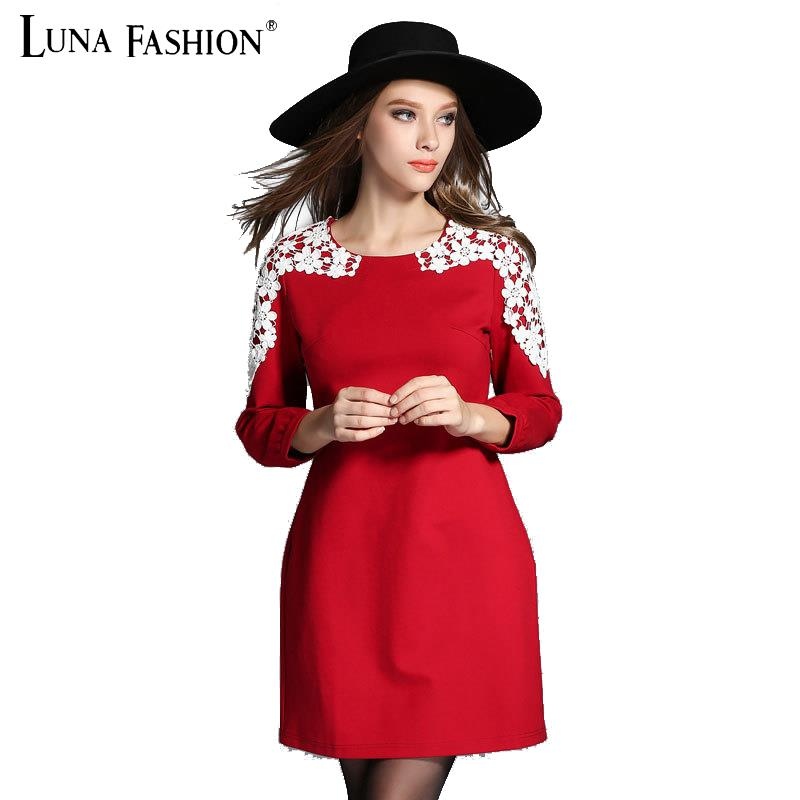 5XL 4XL 3XL 2XL plus size women clothing 2015 autumn fashion elegant lace patchwork long sleeve dress red vintage ladies dresses