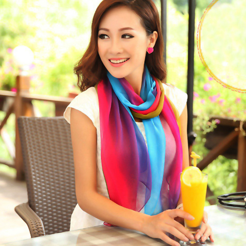 New 2015 brand designer scarfs patchwork color silk chiffon scarf for women spring summer women scarves cachecol 1114(China (Mainland))