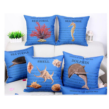 Sea creatures printing blue fabric cushion cover case