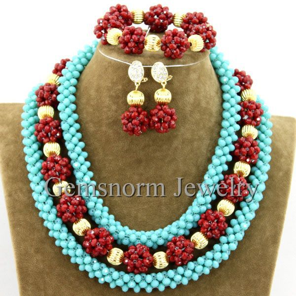 2015 Latest African Beads Jewelry Set Crystal Costume Jewelry Set Handmade Style Beads Set Free Shipping WB283<br>