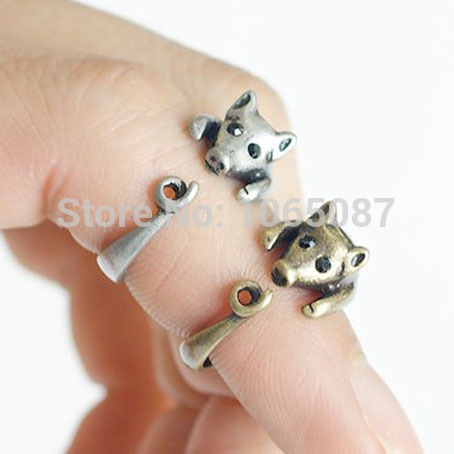 Retro Antique Piggy Pig Adjustable Animal Wrap Hug Finger Ring Bunished Black Rhinestone Eyes Puppy Free Size #5-#9 2 Colors - BEYOND JEWELRY (No minimum order limit store)
