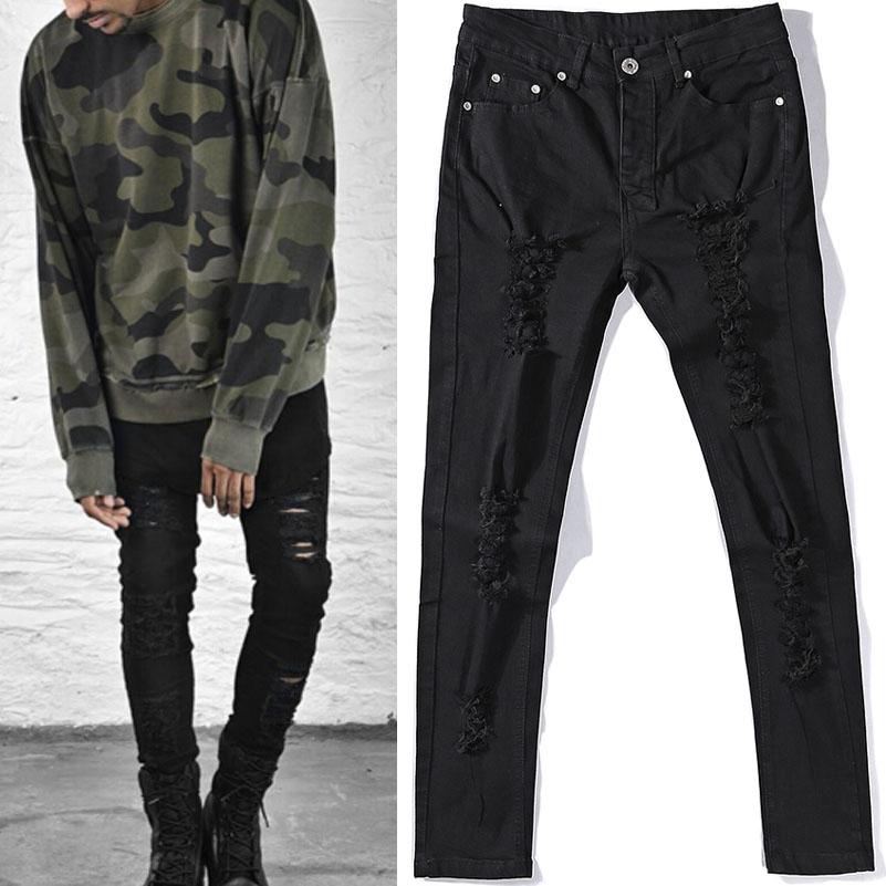 Men Jeans Fashion Hole Distressed Biker Broken FOG Justin Kanye Hip Hop Cloth 2016 2017 High Quality Korean Japan Style FOR Men(China (Mainland))