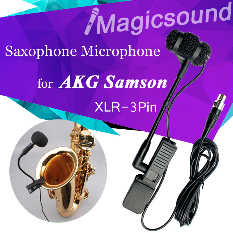 Saxophone Condenser Microphone for AKG Samson !! Professional Musical Orchestral Instrument Mic Wireless Transmitter XLR 3Pin(China (Mainland))