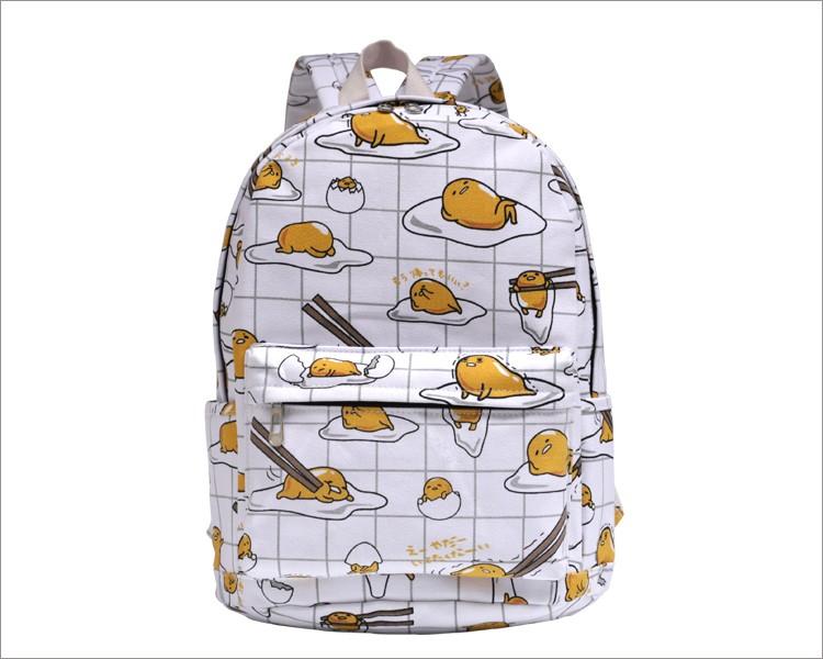 Hottest Lazy Egg Printed Kids Backpacks Cartoon Yellow Gudetama Lazy Egg School Bags B H