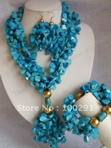 Double Flower Strand Blue color African Wedding Bridal Coral Jewelry Set Coral Necklace Bracelet Earring Set