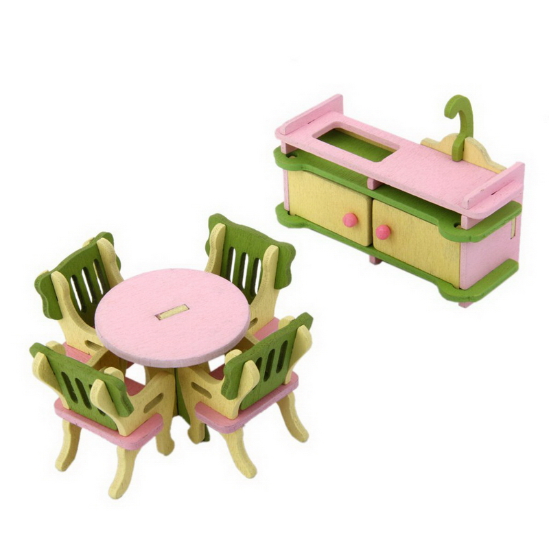 6Pcs/set Dollhouse Miniature Furniture Wooden Toy Kids Dinning Room Set Doll House Accessories(China (Mainland))