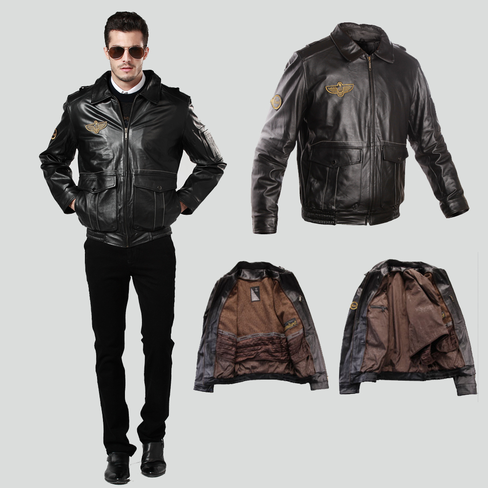 Freeshipping!Men's Air Force A-2 Flight Leather Jacket Genuine Leather Liner Detachable Winter Coat male leather jacket for men(China (Mainland))