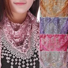 Summer New Brand design Lady Lace Scarf Tassel Sheer Metallic Women Triangle Bandage Floral scarves Shawl(China (Mainland))