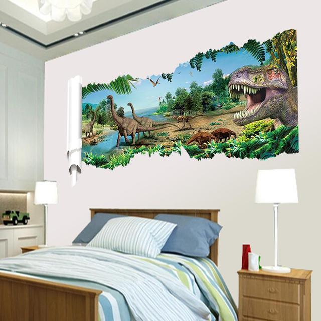 3d динозавры через стену наклейки парк юрского периода украшения дома diy мультфильм детская комната 1458 наклейки на фильм искусства настенной росписи
