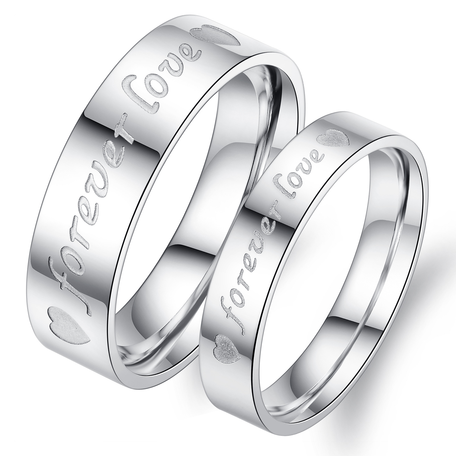 Fashion FOREVER LOVE Stainless Steel Couple Rings jewelry for Mens and womens Fashion Jewelry Anti- allergy never fade(China (Mainland))
