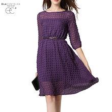 ElaCentelha Brand Women Dress Casual High Quality Solid O Neck A Line Knee Length With Sashes Dress New Women's Dresses(China (Mainland))