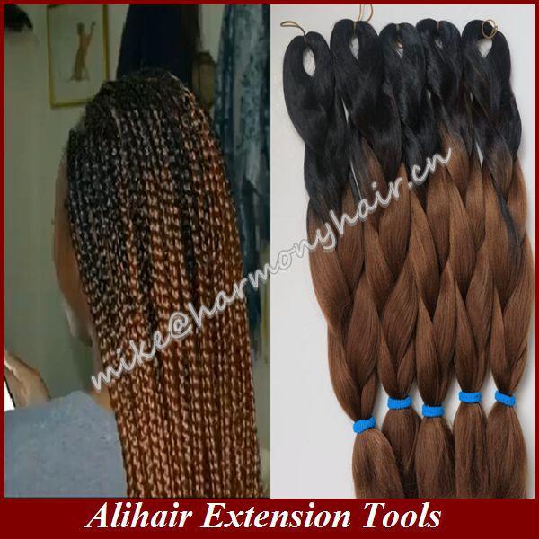 "(10pcs/lot) Folded length 20"" Black&brown 100grams Ombre Two Tone Colored Kanekalon Jumbo Braiding Hair FREE Shipping(China (Mainland))"