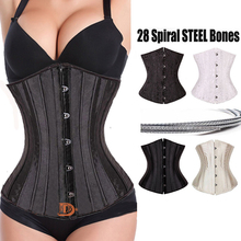 2016 New Fashion 28 spiral steel boned Waist Training Corset Underbust Corsets And Bustiers lace up Plus Size Body Shaper
