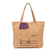 Female Canvas Cotton Bags /New Girl One Shoulder Vintage Portable Dress High-heel Shoes Pattern Cloth Canvas Bags Woman Tote