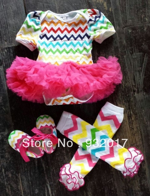 fashion baby girls chiffon/chevron dress bodysuit dress baby cotton romper with hot pink tutu