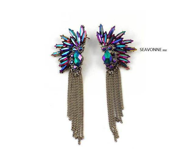 NEW Fashion Jewelry  purple and  white rhinestone crystal  tassel earrings dropshipping  E0855