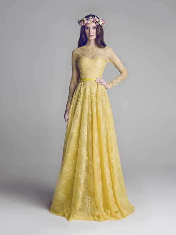 2016 Modest Yellow Sheer Long Sleeves Evening Gowns Custome Made O-neck Floor Length Lace Dress Backless Formal Evening Gown(China (Mainland))