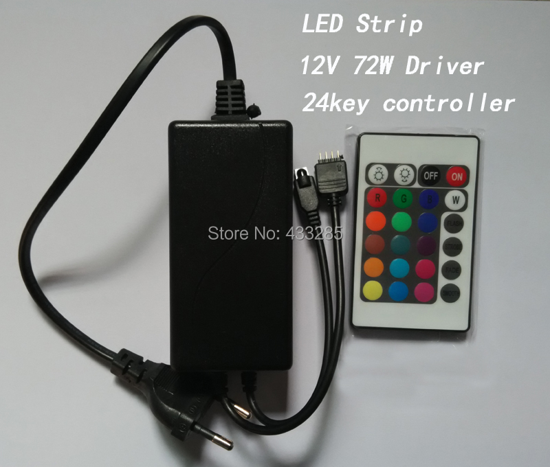 DC12V 72W driver+24key RGB Controller LED Strip IR Remote Controller Available for 5050/3528 Free Shipping(China (Mainland))
