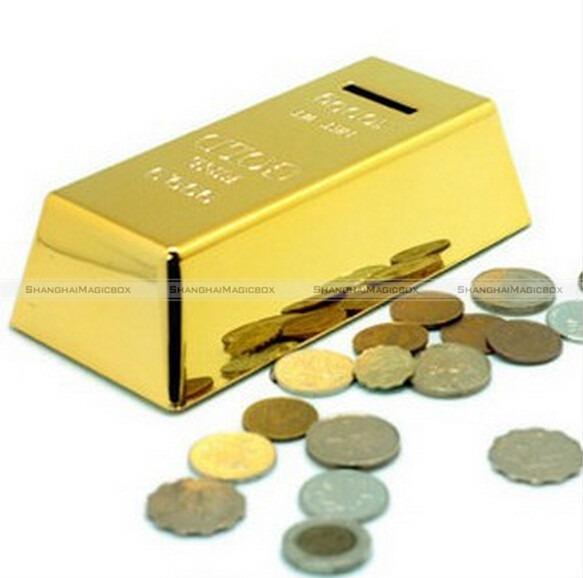 New High Quality Fashion Design Novelty Fun Gold Brick Piggy Bank Coin Money Box Storage Tank Kids Gifts 70114332(China (Mainland))