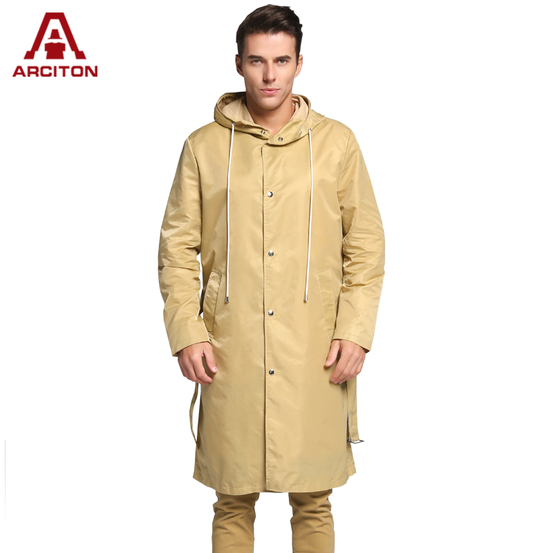 A ARCITON 2017 Spring Men COOL Lightweight Trench Coat Fashion Design Long Trench Coat Men Hoody Windbreaker(N-829)(China (Mainland))