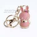 New Novelty Cute Little PInk Rabbit Keychains Casual 3D Key Finder Animal Key Ring Holder For