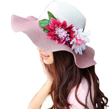 2016 Summer Hats for Women Floppy Foldable Women Big Flowers Beach Straw Sun Hat Female Summer Wide Brim Sunhat Flat Cap Chapeau(China (Mainland))