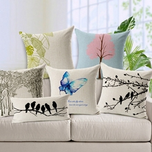 Branch Bird Butterfly Printed Ikea Cushion Covers Home Textile Almofadas Decorativas Pillow Covers Cojines For Home Sofa SMC248T