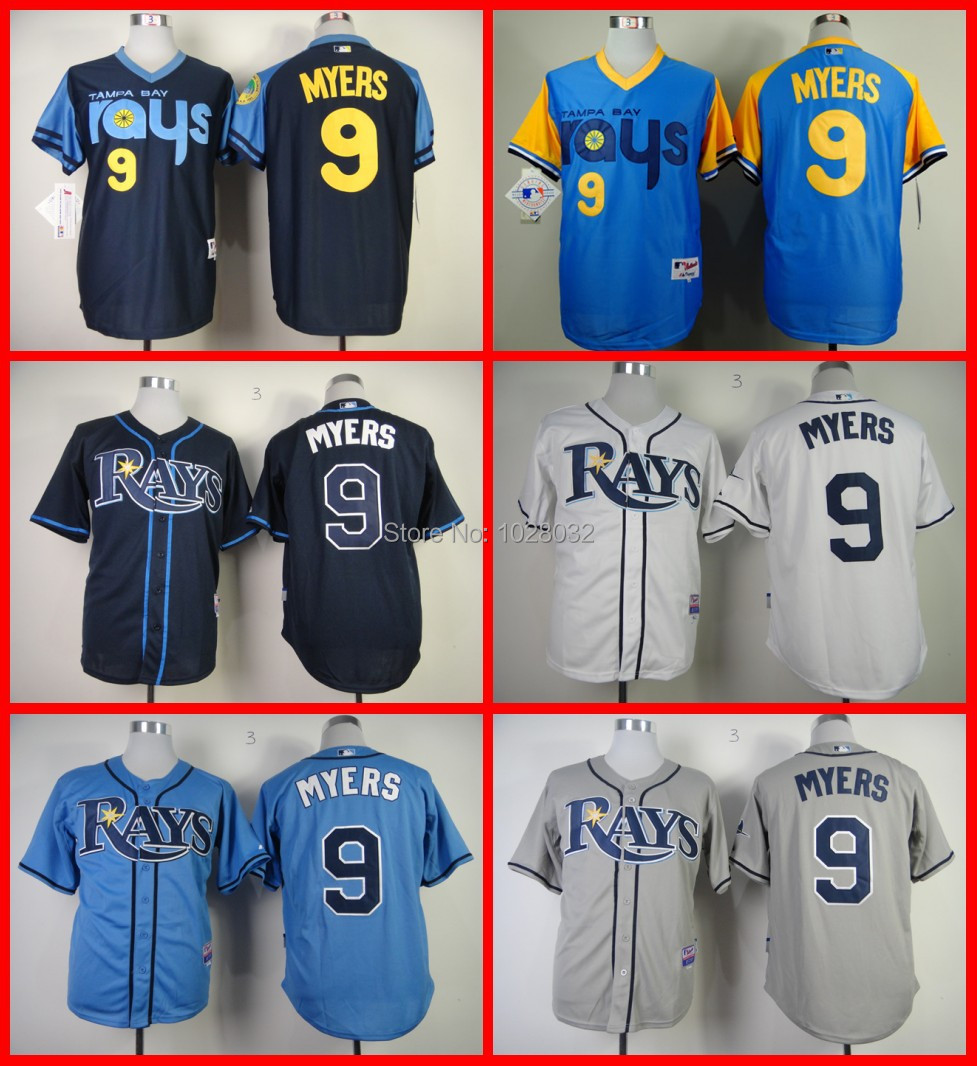 Cheap Whoesale Tampa Bay Rays Jersey #9 Wil Myers Jersey Cool Base Authentic Baseball Jersey White/ Blue/Gray,Embroidery,S~3XL(China (Mainland))