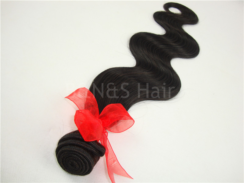 Indian body wave virgin hair weaving Extensions Hair product 3A 1pcs black Indian human hair(China (Mainland))