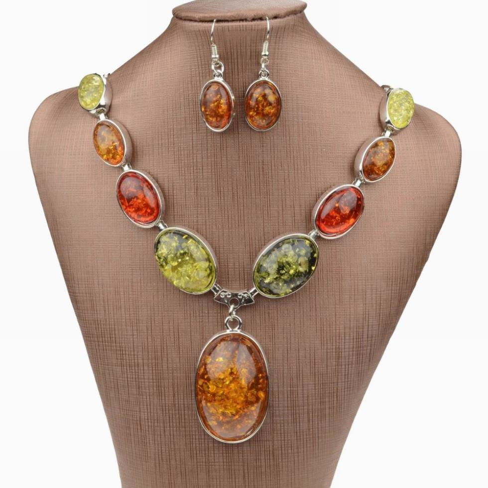 Fashion Necklace For Women 2014 Faux Amber Oval Chain ...