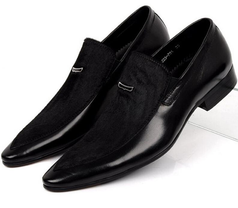 high quality fashion black flats genuine leather mens