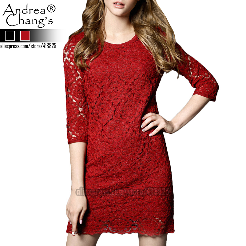 2016 spring summer designer womens dresses black red hollow out flower pattern lace 3/4 sleeve fashion quality brand lace dress(China (Mainland))