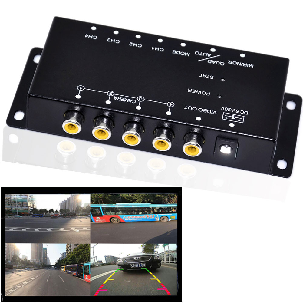 IR control 4 Cameras Video Control Car Cameras Image Switch Combiner Box For Left view Right view Front Rear Parking Camera Box(China (Mainland))