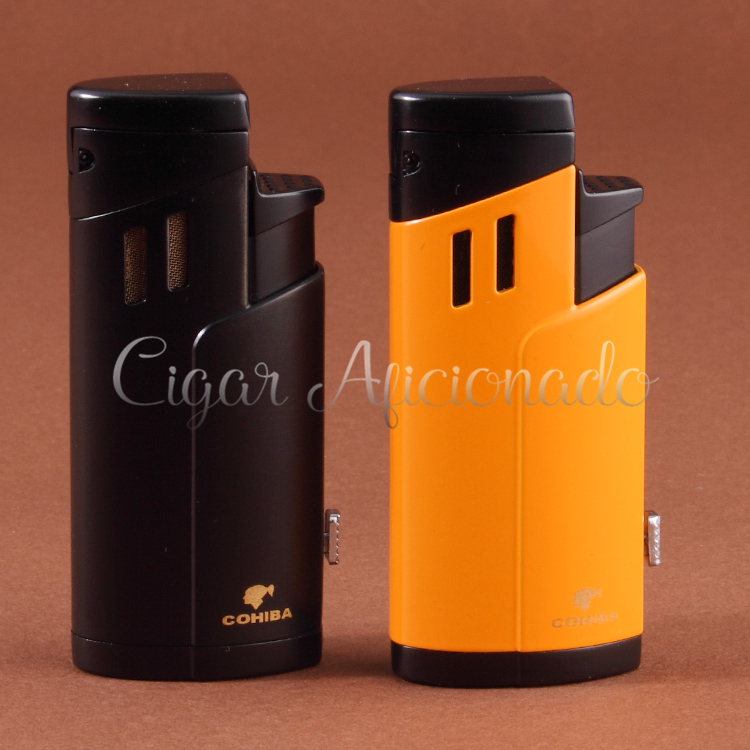 COHIBA Gadgets New Design Lighter Butane Gas Windproof Triple Torch Jet Flame Cigarette Cigar Lighter W Cigar Punch& Gfit Box(China (Mainland))