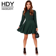 Buy HDY Haoduoyi Fashion Ruffles Mini Dress Women Long Sleeve Slim Female A-line Shirt Dress BF Style Bodycon Dress Vestidos for $15.49 in AliExpress store